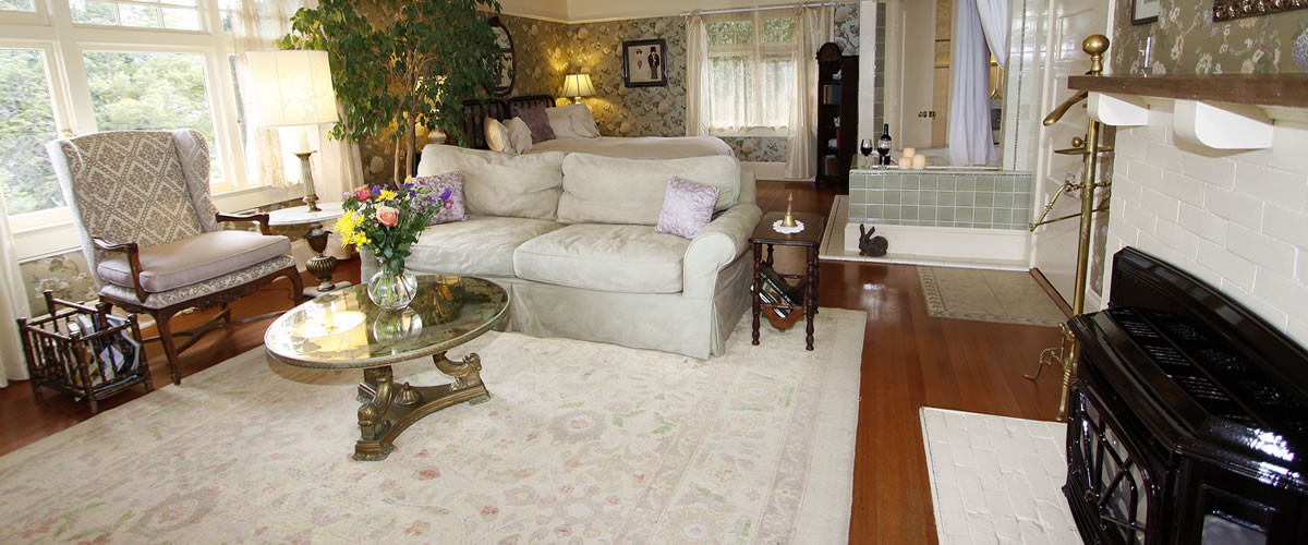 monterey bed and breakfast, borogove room, couch, spa tub and bed