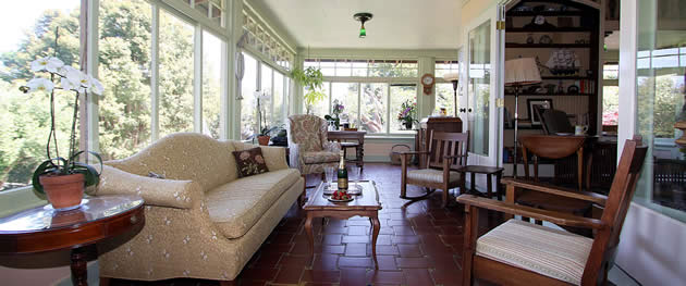 monterey bed and breakfast guest room with ocean view