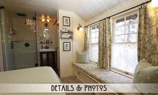 Mimsy Guest Room - queen bed, glass shower and window seat