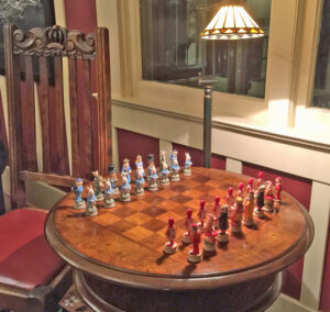 Alice in Wonderland Chess Set at the Jabberwock Inn, Monterey, CA