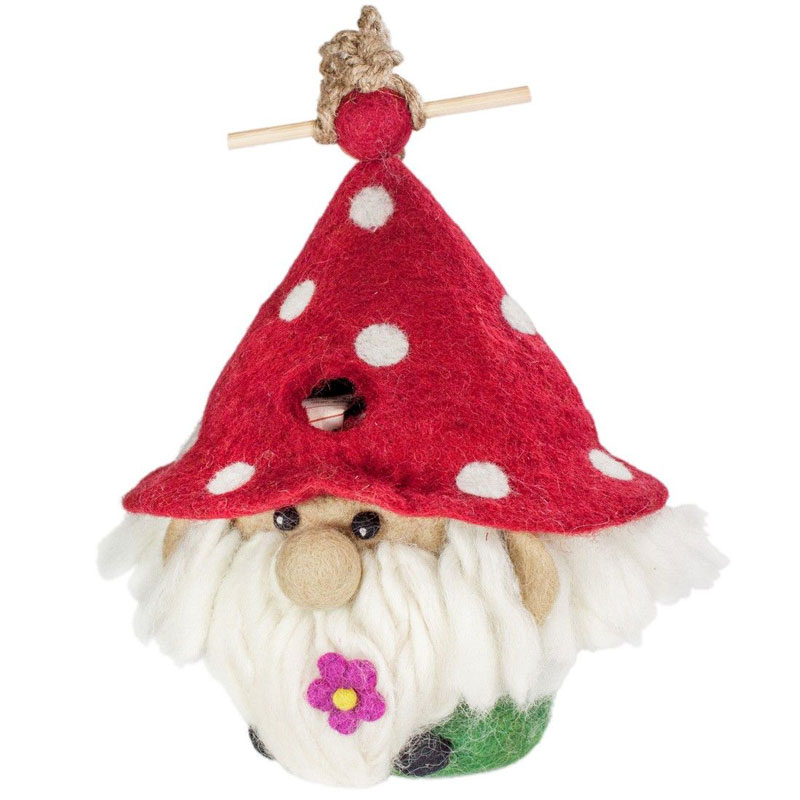 Gnome - felted bird houses - handcrafted gifts at jabberwock inn