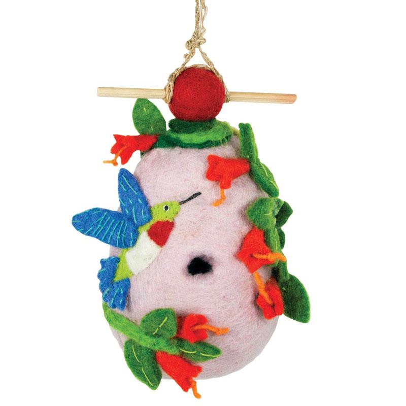 hummingbird - felted bird houses - handcrafted gifts at jabberwock inn