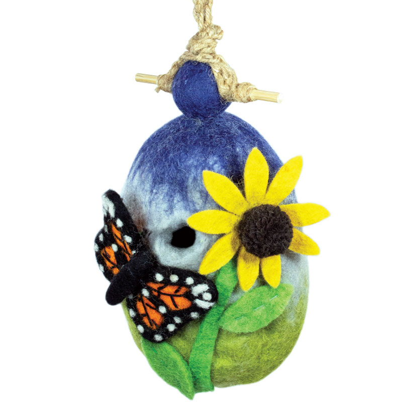 butterfly - felted bird houses - handcrafted gifts at jabberwock inn