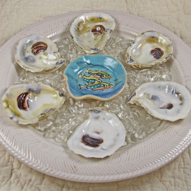Real Oyster Shell Oyster Plate with Catfish Sauce Bowl