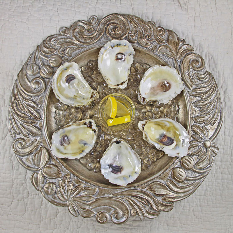 Faux Silver Oyster Plate with Real Oyster Shell Wells