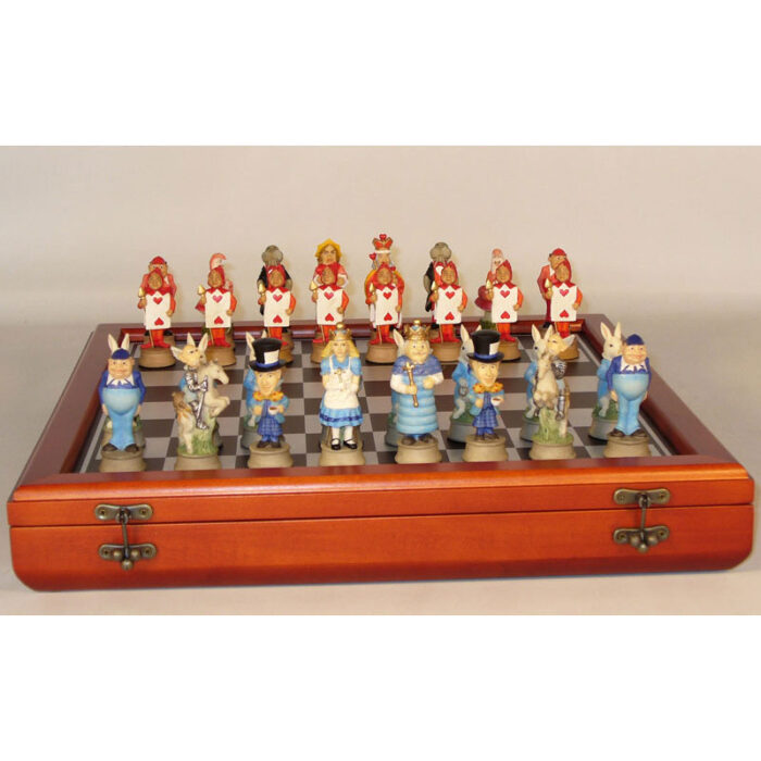 Alice In Wonderland Chess Set - Chessmen & Cherry Wood Chest
